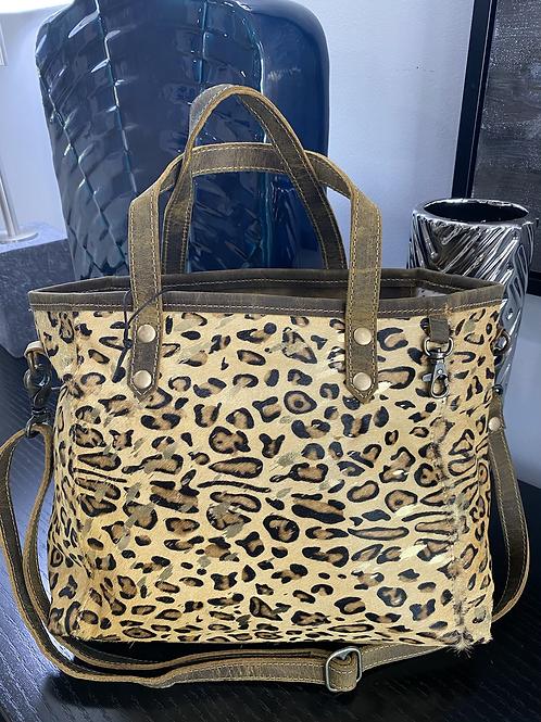 Leopard Suede Gold Metallic Tote Bag