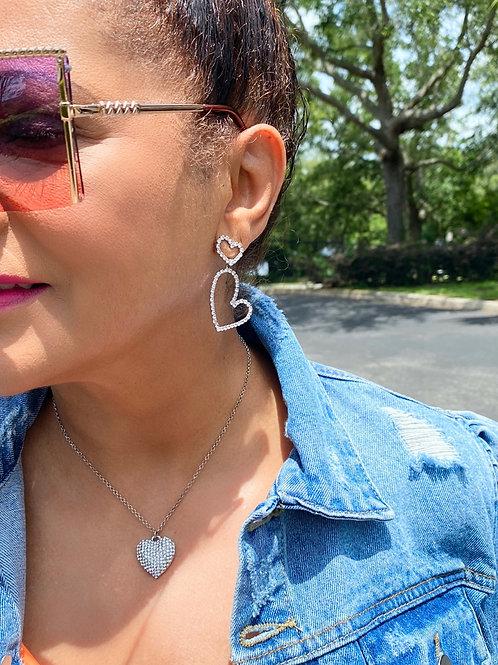 Doubly Heart Rhinestone Earrings