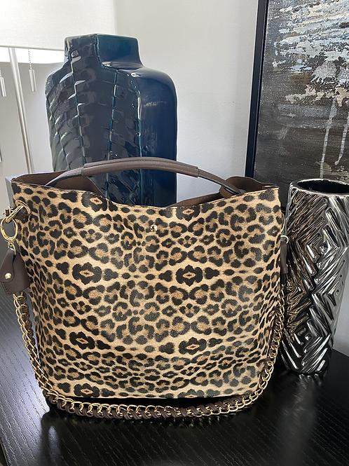 Leopard Hobo Crossbody Chain Bag