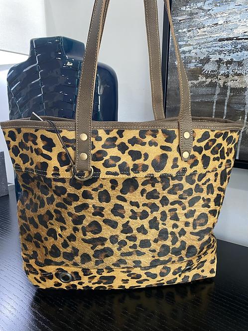 Large Leopard Suede Tote Bag
