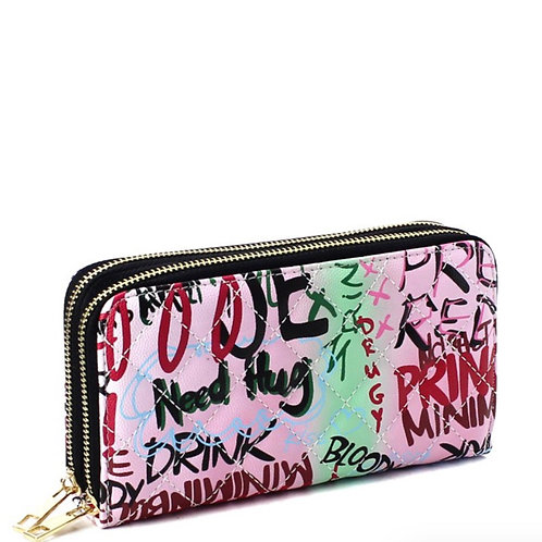 Double Zip Graffiti Wallet