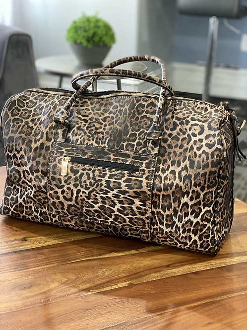 On the Prowl Leopard Jumbo Weekend Duffle Bag