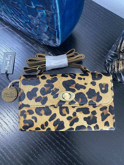 Leopard Suede Crossbody Wallet Clutch