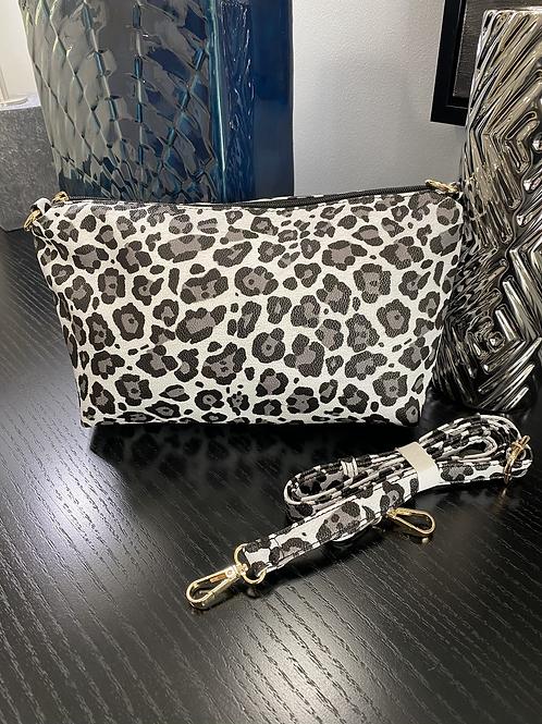 Grey Cheetah Crossbody