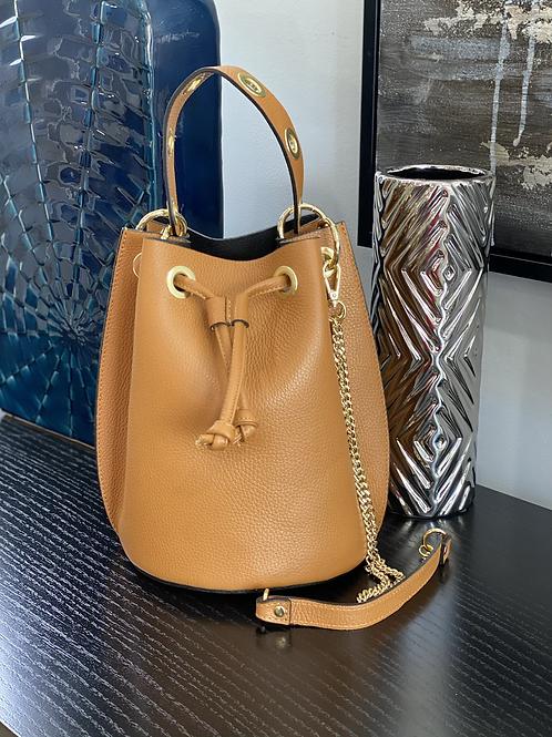 Large Size Italian Leather Drawstring Bucket Bag