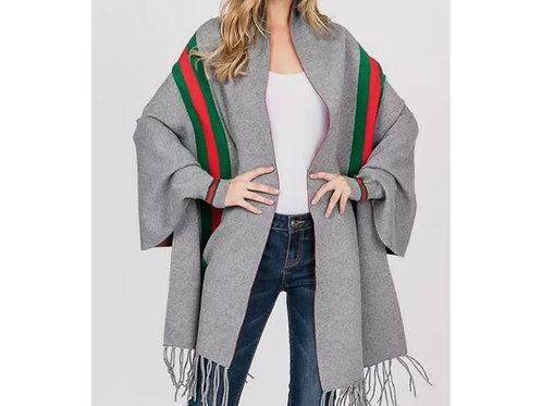 Lux Life Striped Poncho Cardigan Shawl