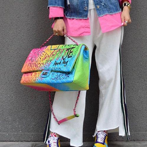Jumbo Graffiti Shoulder Crossbody Bag
