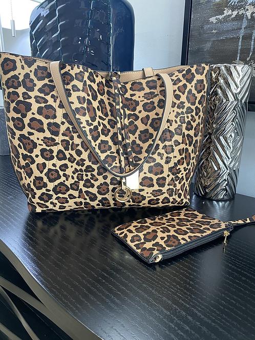 Tan Reversible Cheetah Tote Bag