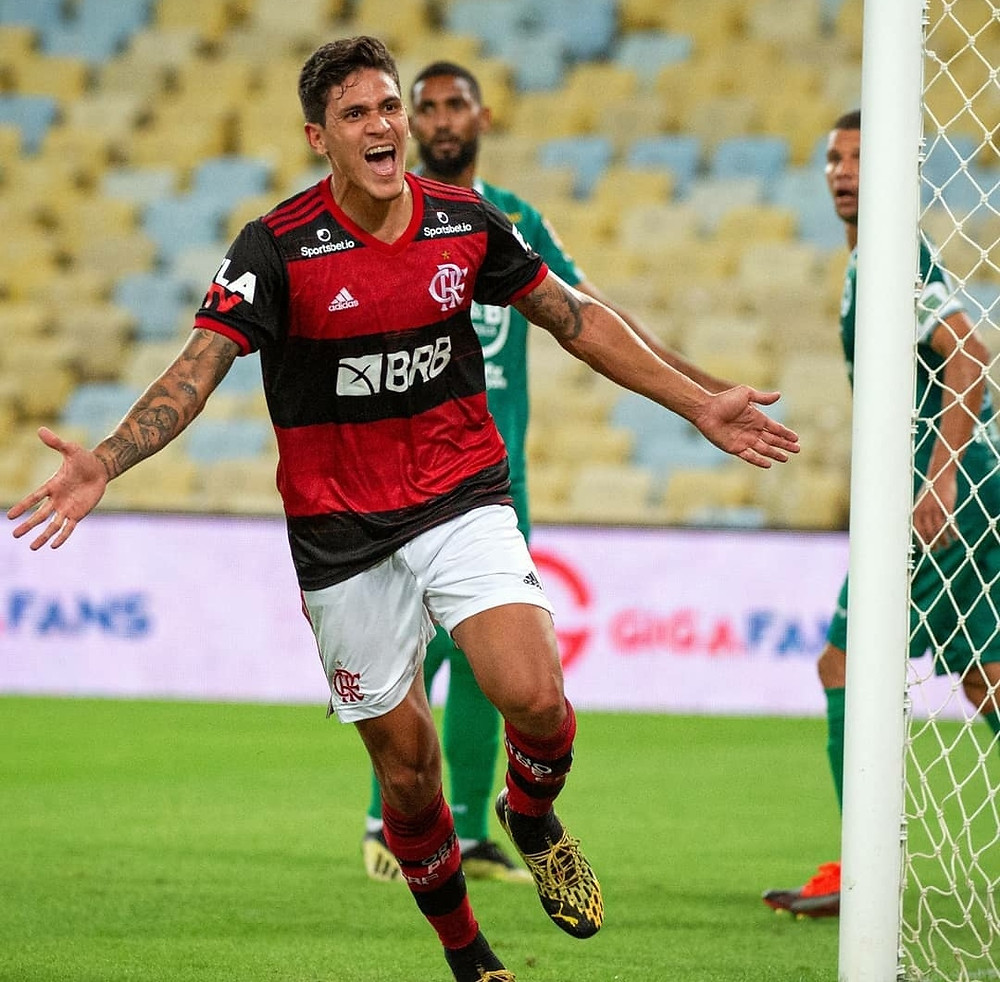 Pedro comemora o primeiro gol do Flamengo.