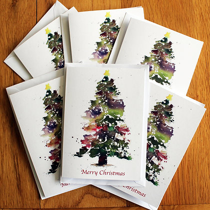 Pack of 6 Christmas Tree Cards.