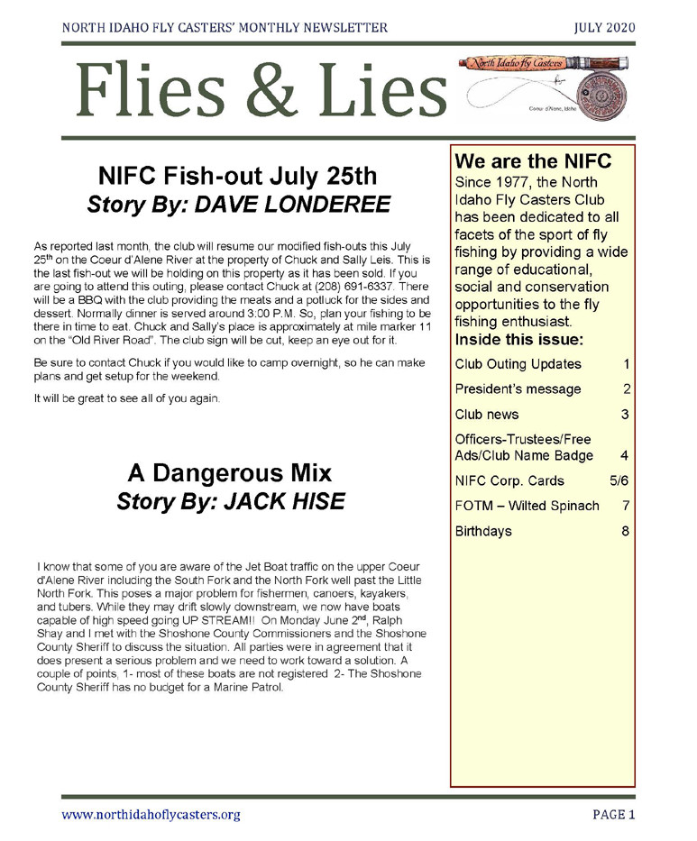 July 2020 Flies and Lies Newsletter