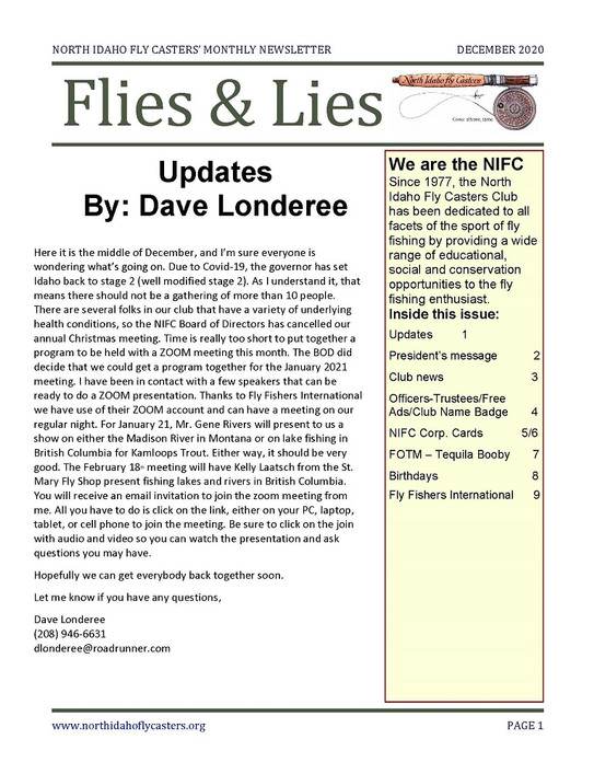 December 2020 Flies and Lies Newsletter