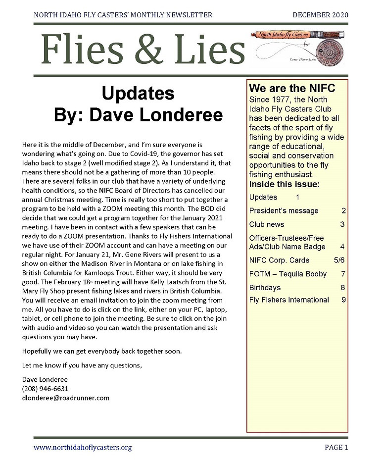 December 2020 Flies and Lies Newsletter
