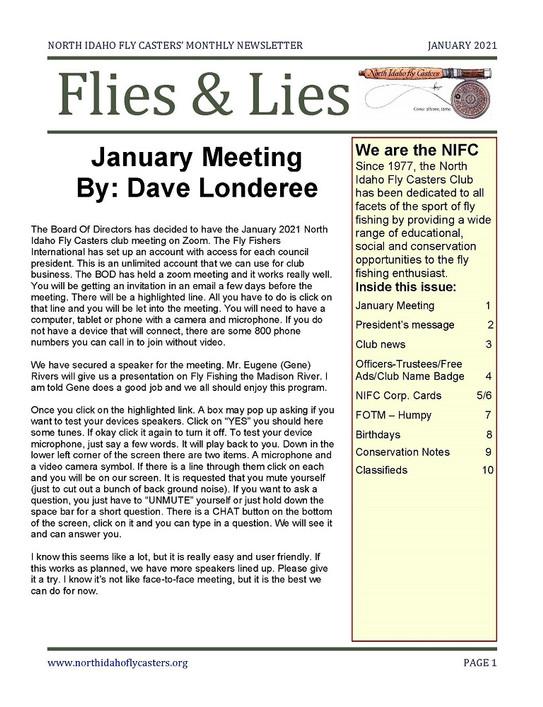 January 2021 Flies and Lies Newsletter