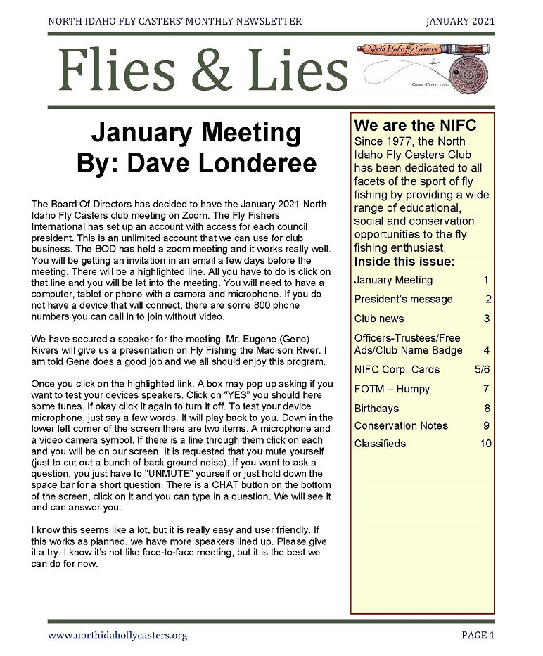 January 2021 Flies and Lies Newsletter