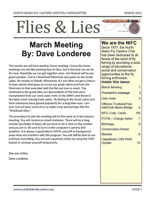 March 2021 Flies and Lies Newsletter