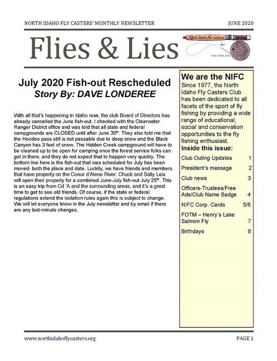 June 2020 Flies and Lies Newsletter