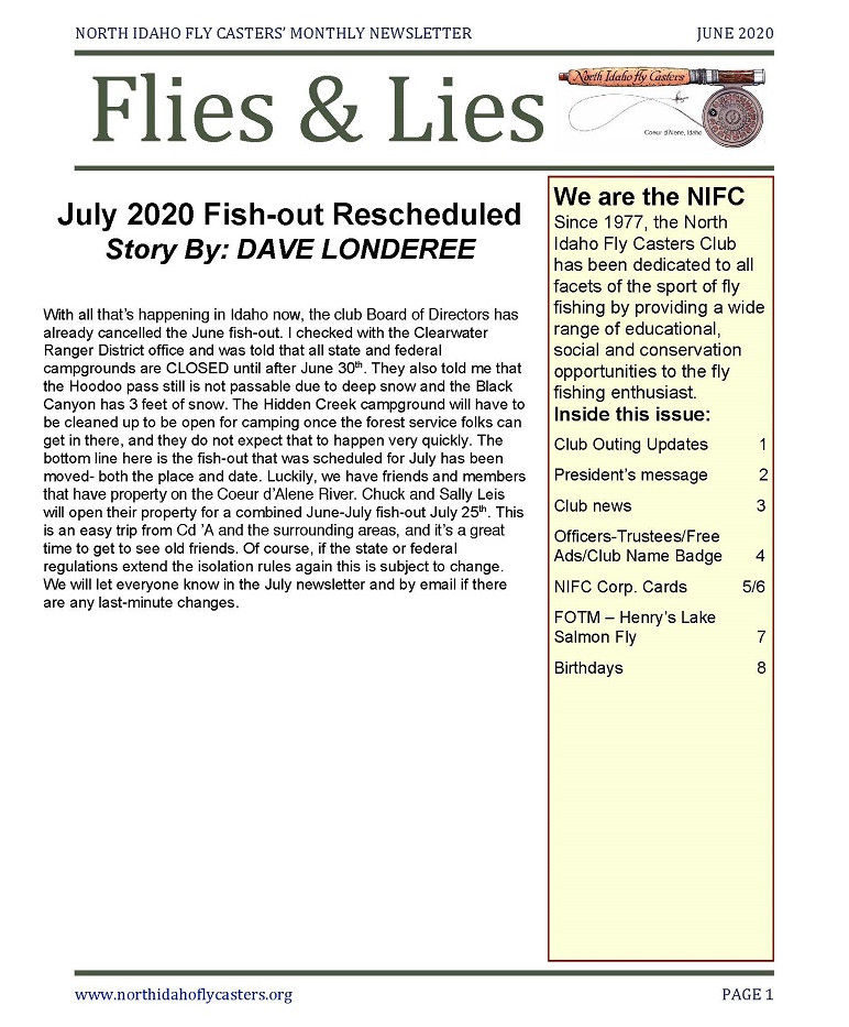 June 2020 Flies and Lies Newsletter