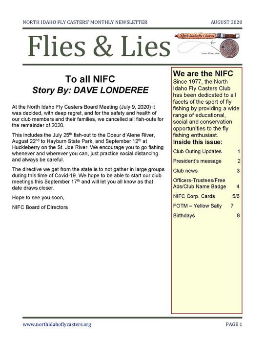 August 2020 Flies and Lies Newsletter