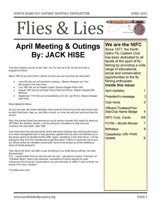 April 2021 Flies and Lies Newsletter
