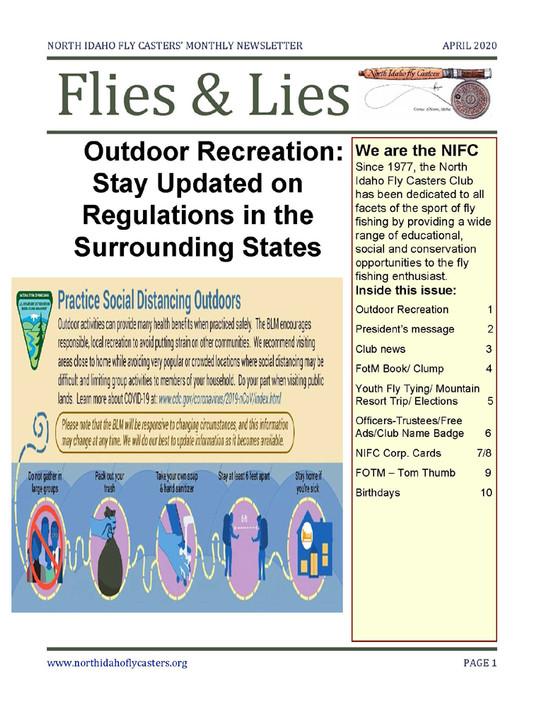 April 2020 Flies and Lies Newsletter