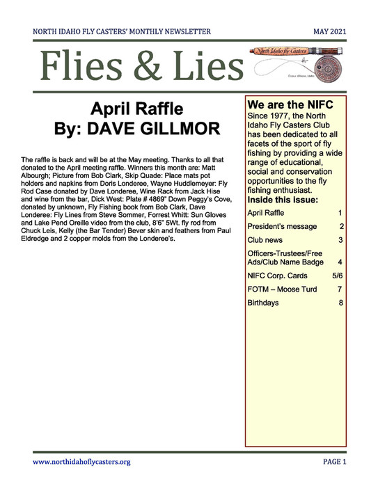 May 2021 Flies and Lies Newsletter