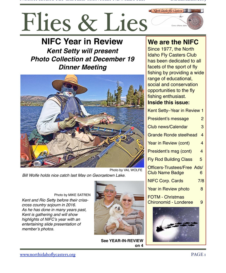 December 2019 Flies & Lies Newsletter