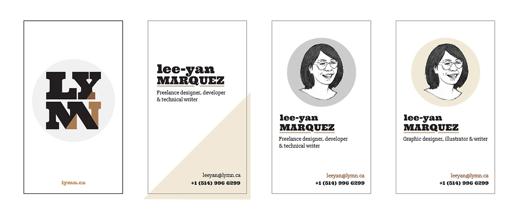 LYMN business card designs with one front and three back variants