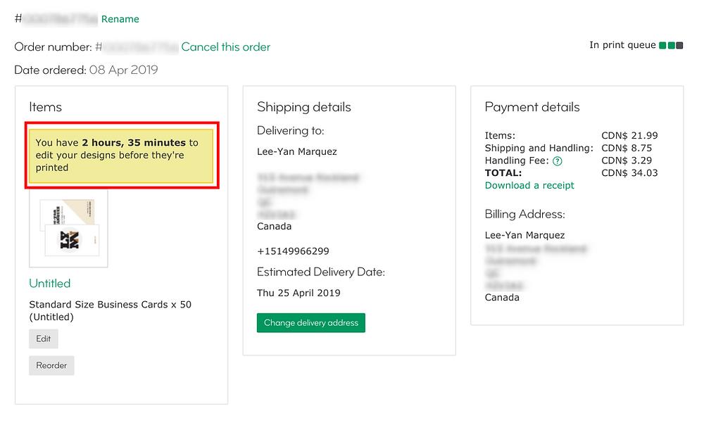 Example of moo.com order sheet