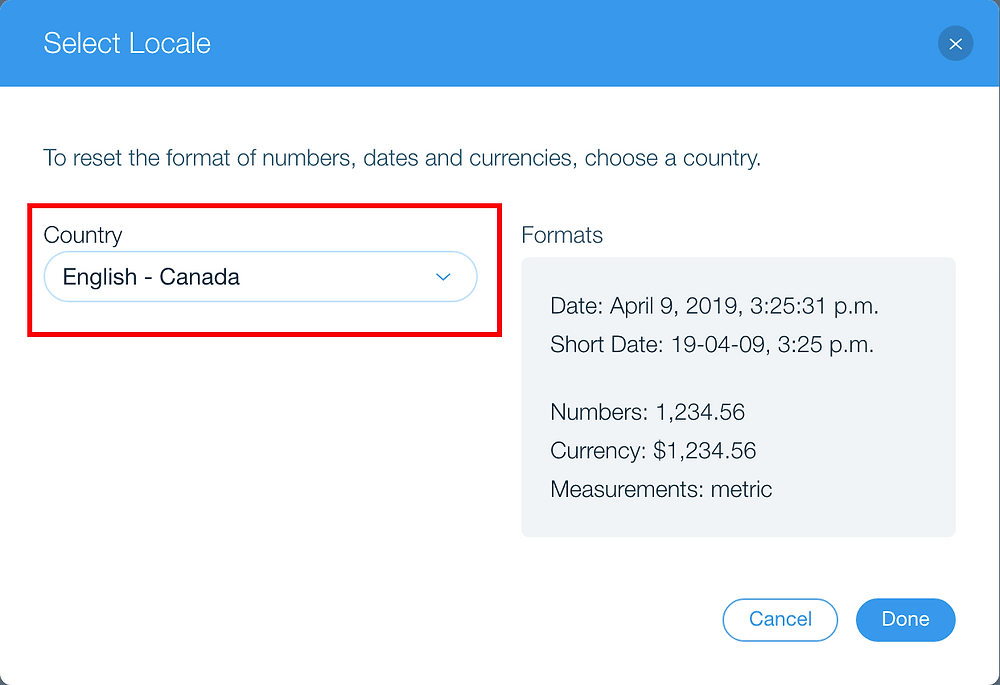 English - Canada locale with formats
