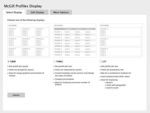 Profiles | Display selection