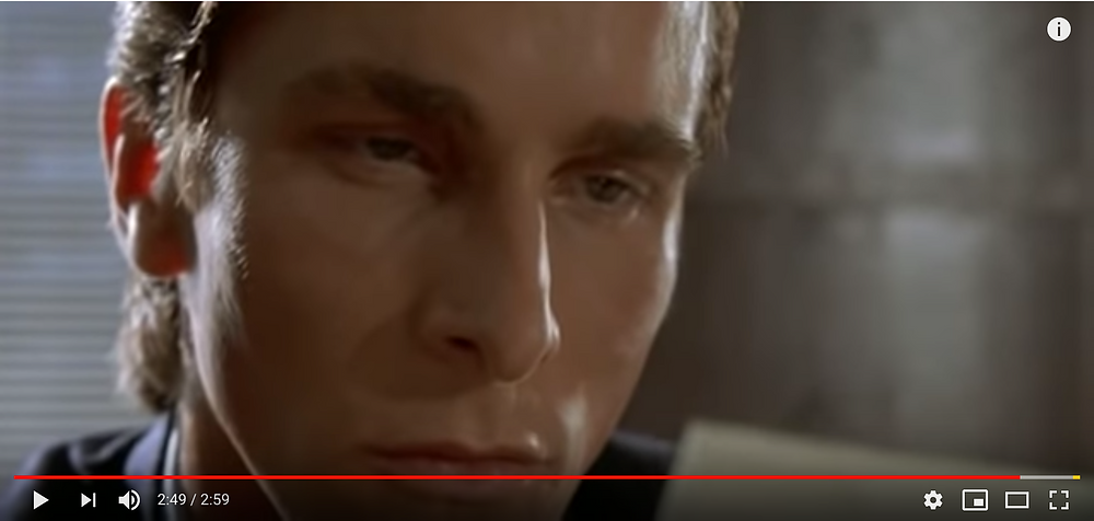 Youtube screenshot of American Psycho business card scene