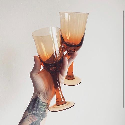 Vintage Amber Wine Glasses