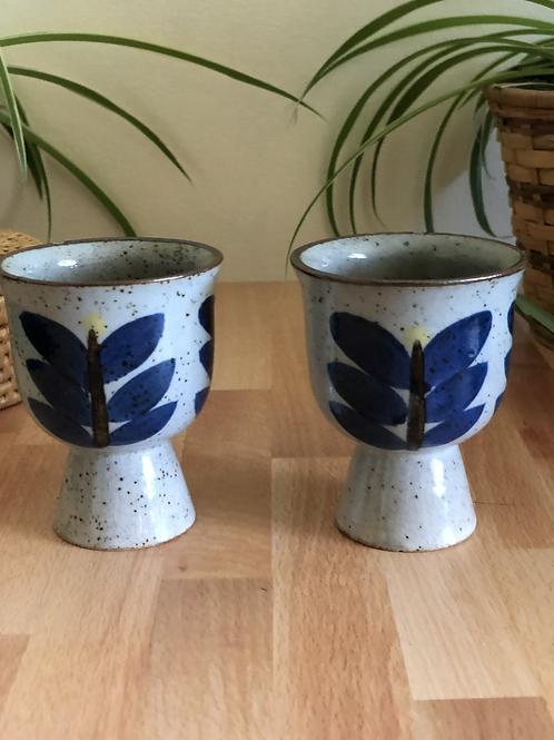 Set of 2 Small Hand Painted Goblet Glasses