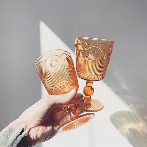 Amber Goblet Vintage Glassware