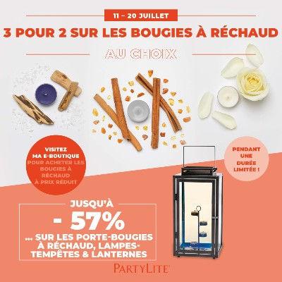 promotion_bougie_a_rechaud_partylite_prix_deco  3 POUR 2 BOUGIES À RÉCHAUD* SEULEMENT 19,90€ AU LIEU DE 29,85 € BOUGIES À RÉCHAUD COLORÉES POUR LES FANS DE FRAGRANCES 11 – 20 JUILLET CODE PROMO : TL0721 GARANTIE J'ADORE Tous nos produits ont été créés avec amour et sont couverts par la Garantie J'adore à 100%. Nous nous engageons à vous rembourser dans un délai de 14 jours suivant l'achat ou à procéder à un échange si vous n'êtes pas totalement satisfait(e)s. Le délai d'échange est de 4 semaines à partir de la réception des produits. CONDITIONS : Offre valable en Party présentielle et digitale et sur la E-Boutique du 11/07/2021 au 20/07/2021. Réception des synthèses de Party au plus tard le 20/07 minuit sur internet. Pas de minimum d'achat catalogue, pas de quantité limitée pour les Invité(e)s. Offres cumulables avec les autres offres en cours. Dans la limite des stocks disponibles, en cas de rupture les produits seront remplacés par un bon d'achat non-remboursable de la valeur du