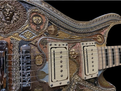 A vintage style custom-made guitar, handcrafted by EddieA.