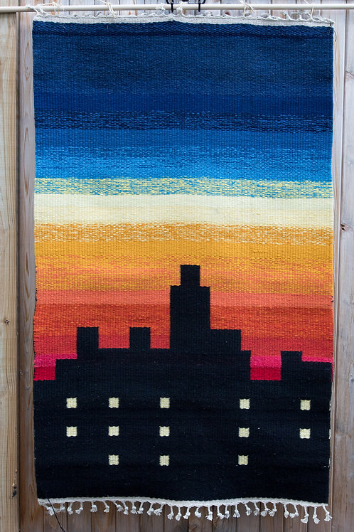 Colorful Modernistic Cityscape Rug in Wool