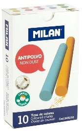 Box 10 anti-dust round coloured chalks