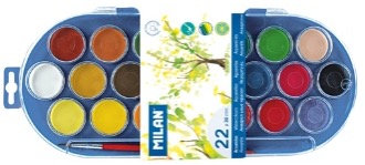 Set of 22 watercolour tablets 30mm with brush