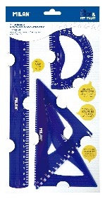 Blister pack tracing kit with 30cm ruler, 180º protractor and square set