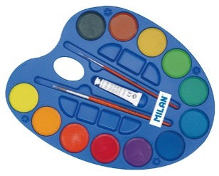 Palette of 12 watercolour tablet 45mm with 2 brushes and white tube