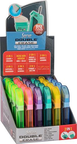 SERVE DOUBLE ERASE, LEAD TUBE & ERASER, 0.5mm