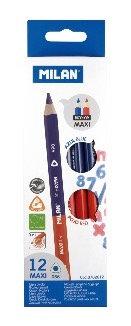 Box of 12 Maxi bicolour triangular pencils (blue and red)