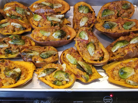 Twice Baked Sweet Potato and Brussel Sprouts Boats