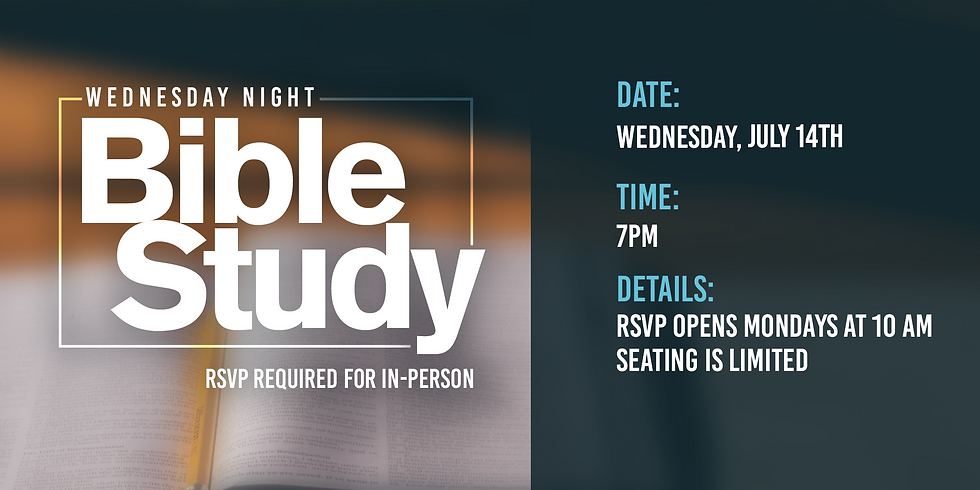 RSVP for Bible Class: Wednesday, July 14