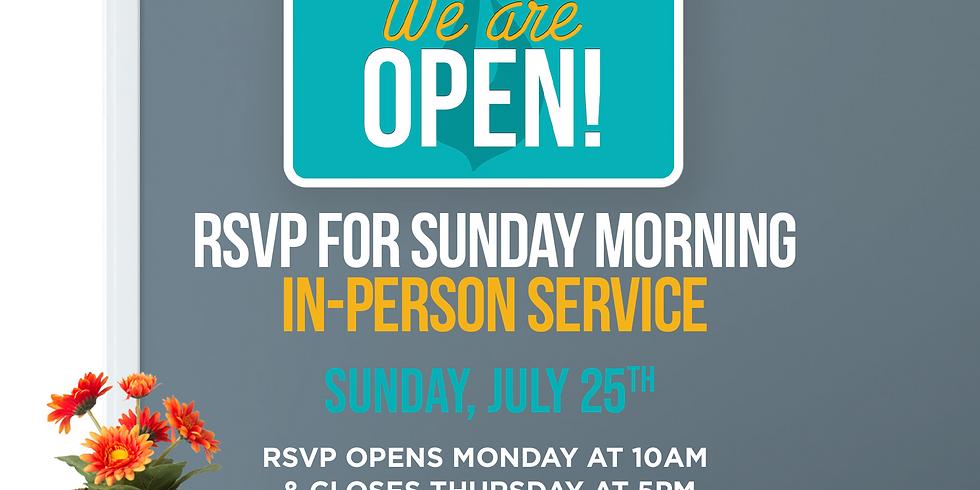 RSVP for Service: Sunday July 25th