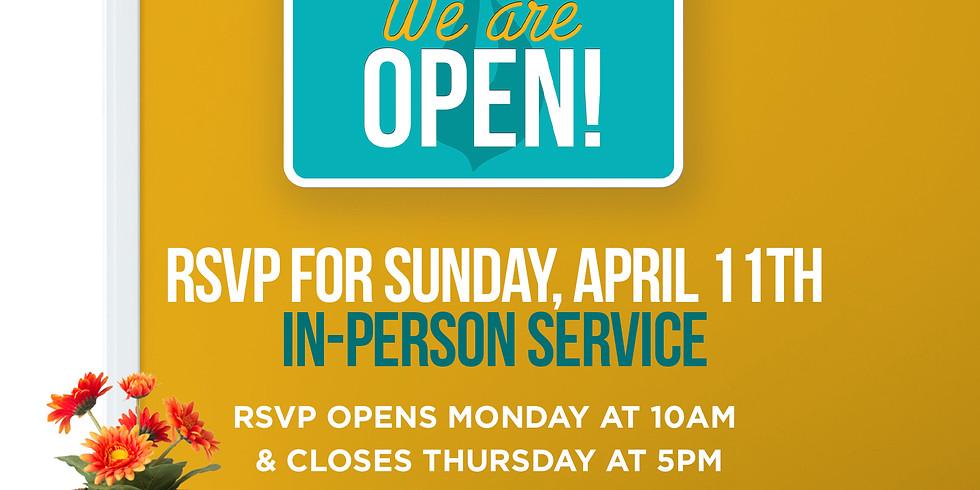 RSVP for Service: Sunday April 11th