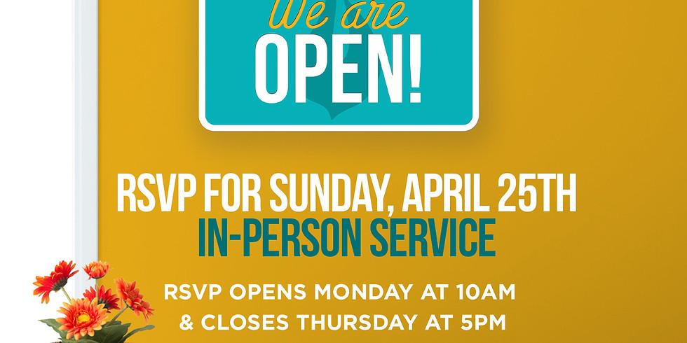 RSVP for Service: Sunday April 25th