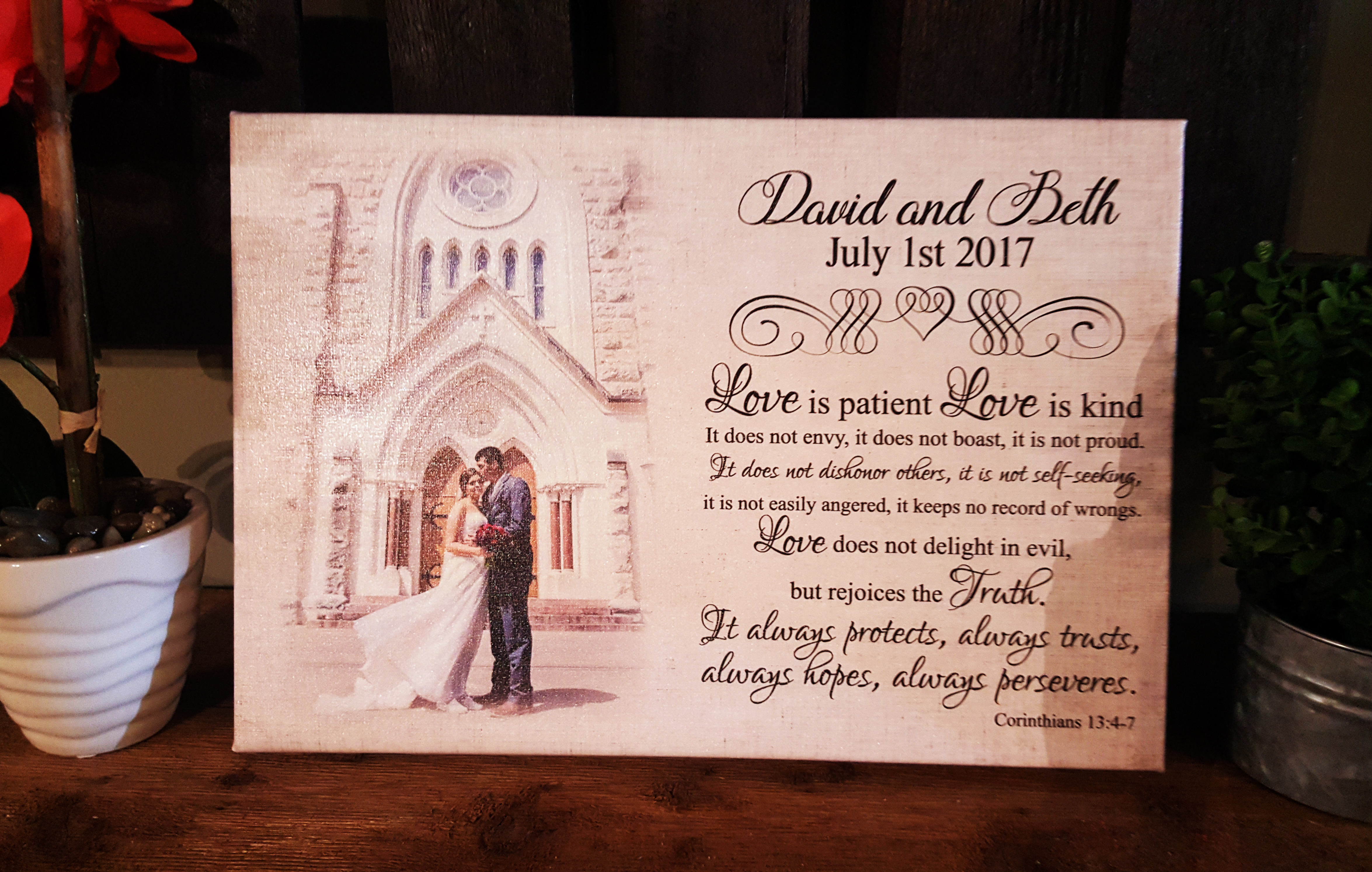 Custom wedding photo, scripture